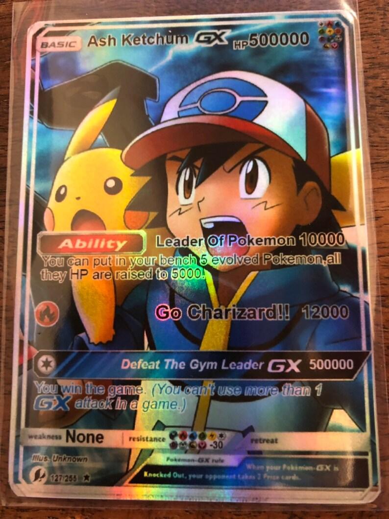 Ash Ketchum Mega M Greninja Gx Ex Orica Pokemon Card Pikachu Etsy