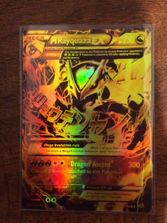 rayquaza gx pokemon luxury card orica custom card gold rare etsy
