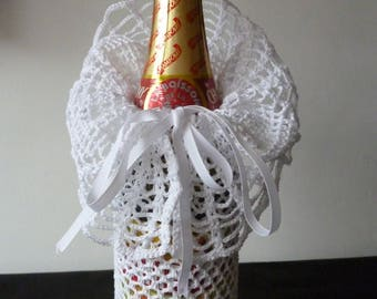 Champagne bottle decor, crochet. To order.
