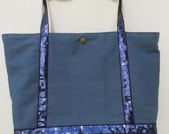bag of denim and glitter handles