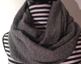 Warm grey knit infinity scarf