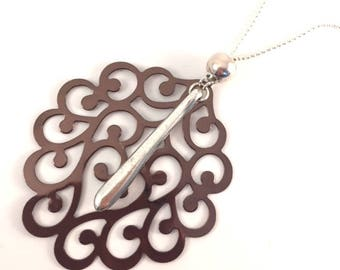 Necklace chocolate copper engraving