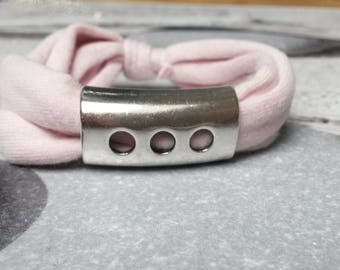 Bracelet light pink jersey cotton and his passing silver