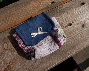 coin purse, denim and fabric card holder