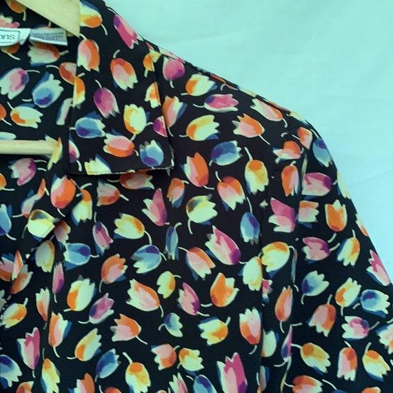 Vintage Tulip Print Blouse - Medium M - image 2
