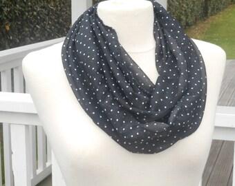 Snood écharpe tube tour du cou foulard  femme  noir et blanc  pois lineva 9fcd03a88aa
