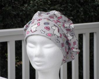 283a8fc88f99 Turban bonnet béret chapeau bandanas foulard de chimio de cancer créateur  lin eva pour enfant  en jersey coton  imprimé licornes rose gris