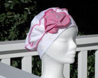 Turban bonnet béret chapeau bandanas foulard de chimio de cancer créateur  lin eva pour enfant  en jersey coton  imprimé licornes rose blanc c6fe27370c8