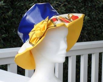 rain rain rain beret Beanie Hat / women/nightblue and yellow /papillon/ creator / flax ' eva / wide edges/spring summer collection