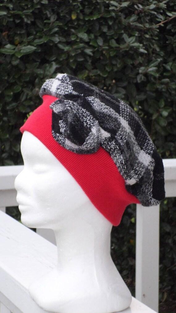bonnet béret turban chapeau  doux  femme  écossais et rouge    Etsy 06e1ba080fe