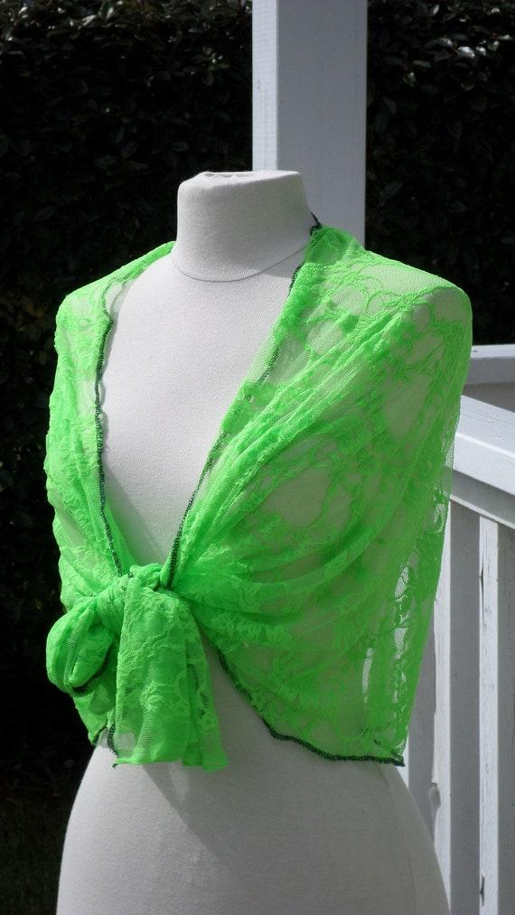 f4250a22fea Etole écharpe foulard châleen dentellevert fluopour femme