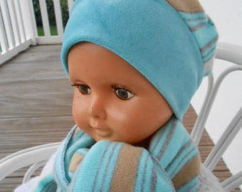 Hat and scarf set soft linen baby ' eva kids blue and white size 2 boy