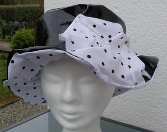 rain rain rain beret Beanie Hat / vinyl / black lined/cotton/woman/designer/lineva/fact hand/black and white/collection