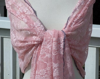 Woman's Lacy shawl pink nice wedding linen ' eva