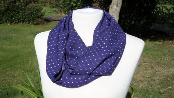 e81d50ef3de Snood écharpe tube tour du cou foulard femme bleucollection