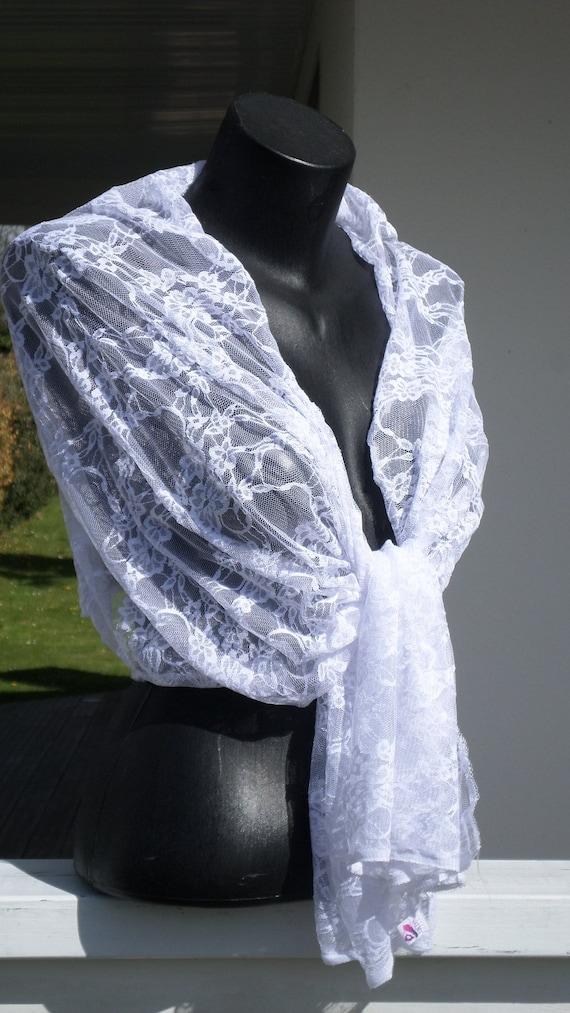 f290de79836f Etole écharpe foulard châlepour femmeen dentelle blanche   Etsy