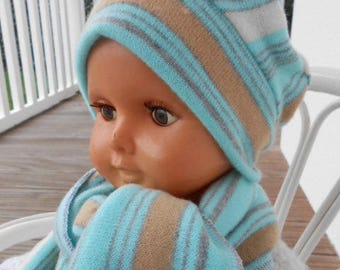 Hat and scarf set soft linen baby ' eva kids blue and white size 2 boy or girl