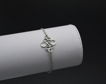 Chain bracelet, stainless steel Silver Chinese knot M157 model