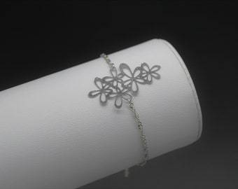 Chain bracelet, stainless steel Silver, cluster of flowers M156 model