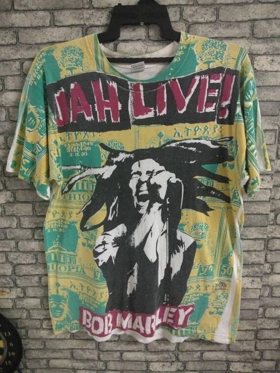 vintage rare bob marley allover print shirt/reggae