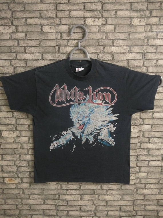 vintage 80s white lion band shirt