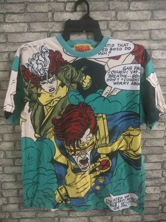 vintage rare marvel overprint shirt/x-men/marvel/c