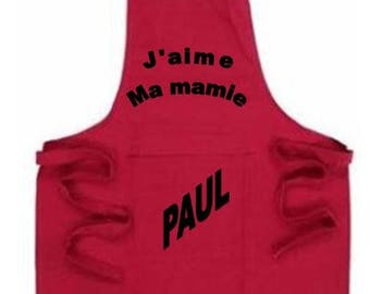 Red apron with Pocket to personalize