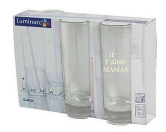 Glass luminarc customize set of 3 cups shape high 33 CL