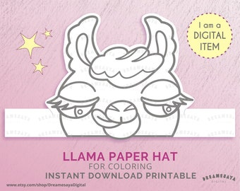 Printable Unicorn Horn And Ears Paper Hat Unicorn Coloring Etsy