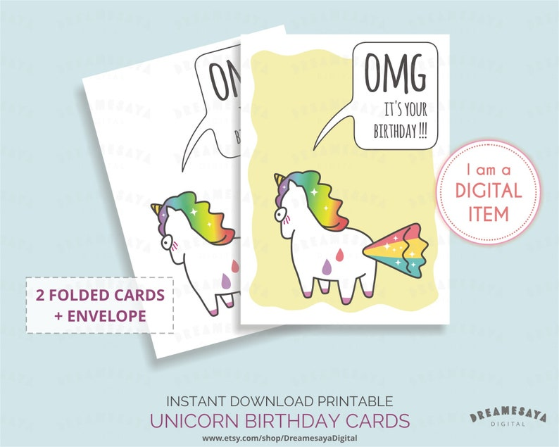 Humorous Birthday Card Unicorn Belated Greeting