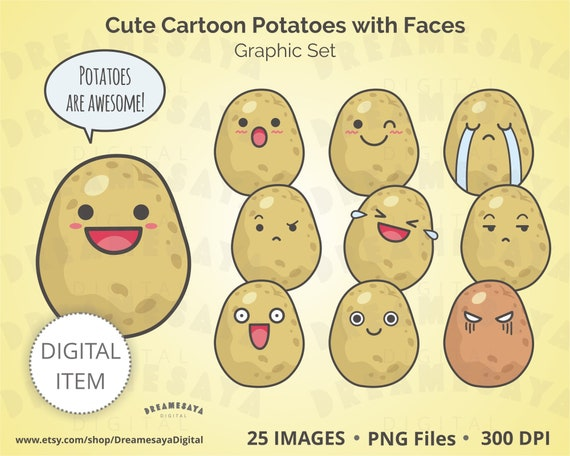 Clipart Di Patate Kawaii Emoticon Di Patate Carino Cartone Animato Con I Volti Divertente Set Grafico Smiley Immagini Di Illustrazione Mood Uso