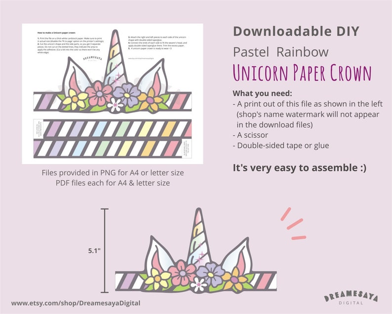Unicorn Paper Hat Download Pastel Rainbow Unicorn Paper Etsy