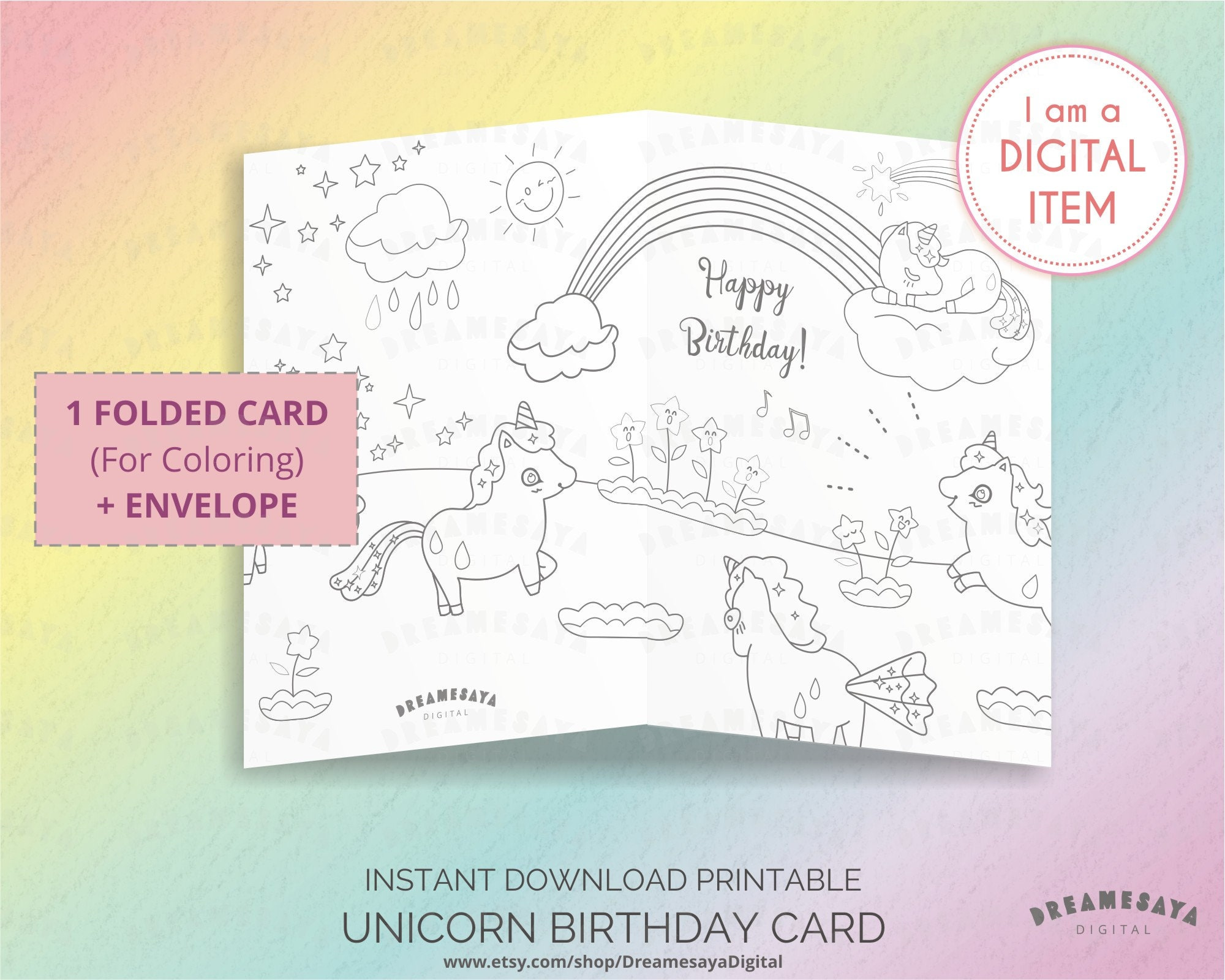 Unicorn Coloring Card Download Black And White Happy Birthday Card Illustrated With Magical Unicorns For Coloring