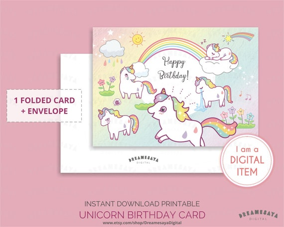 Birthday Card Unicorn Magical Cards Digital