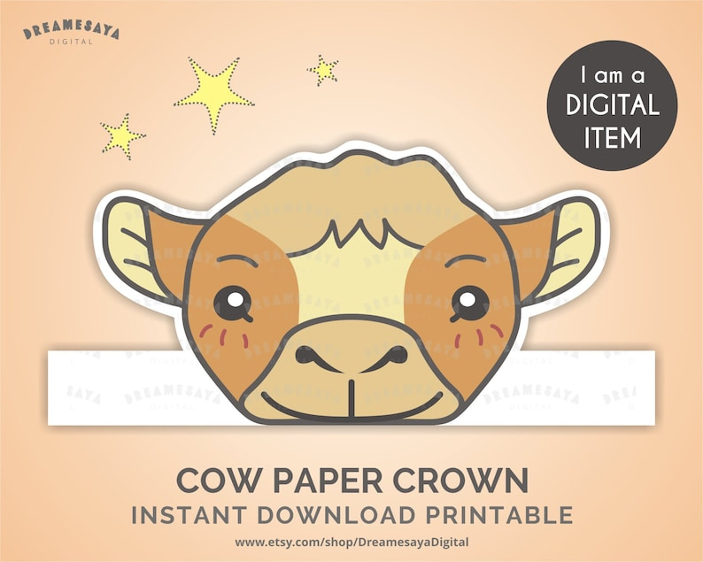 photograph relating to Printable Cow Hat named Cow celebration crown downloadable, Cattle paper hat printable, Cow paper headpiece Do-it-yourself, Farm animal craft