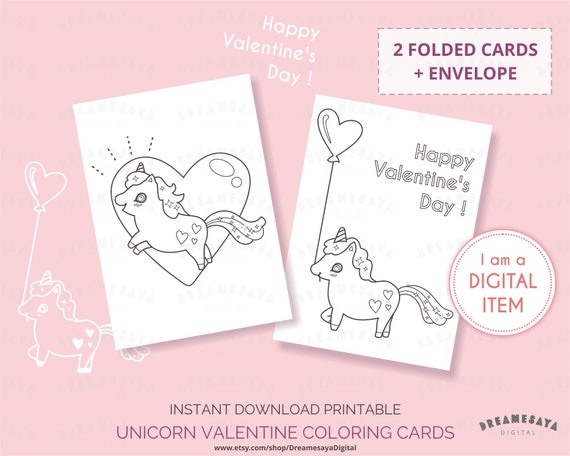 Unicorn coloring valentines card, Printable unicorn coloring sheet, Kids  valentine greetings instant digital download