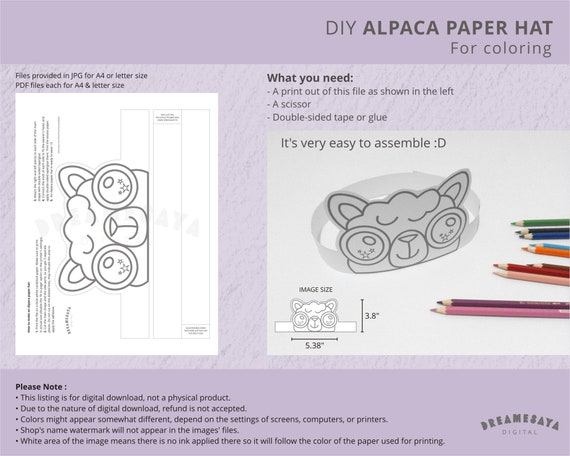Alpaca Party Crown Printable For Coloring Cute Animal Paper Etsy