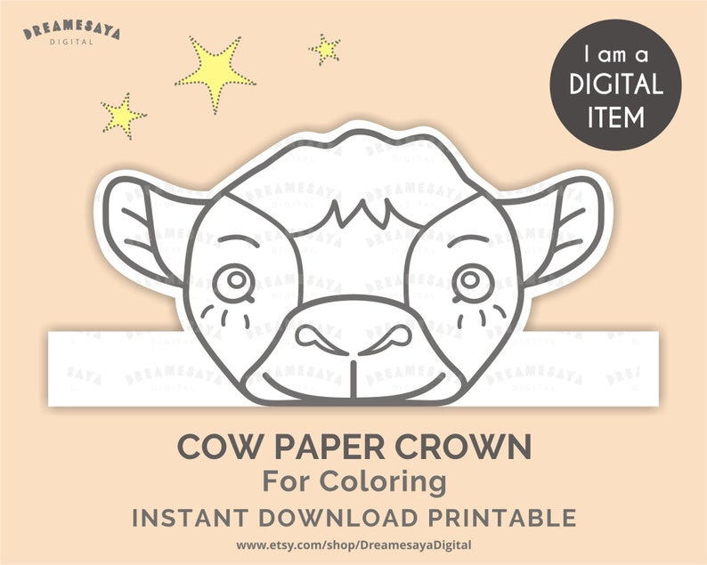 photo about Printable Cow Hat known as Printable get together crown cow for coloring, Cow mind template, Black and white farm animal paper hat