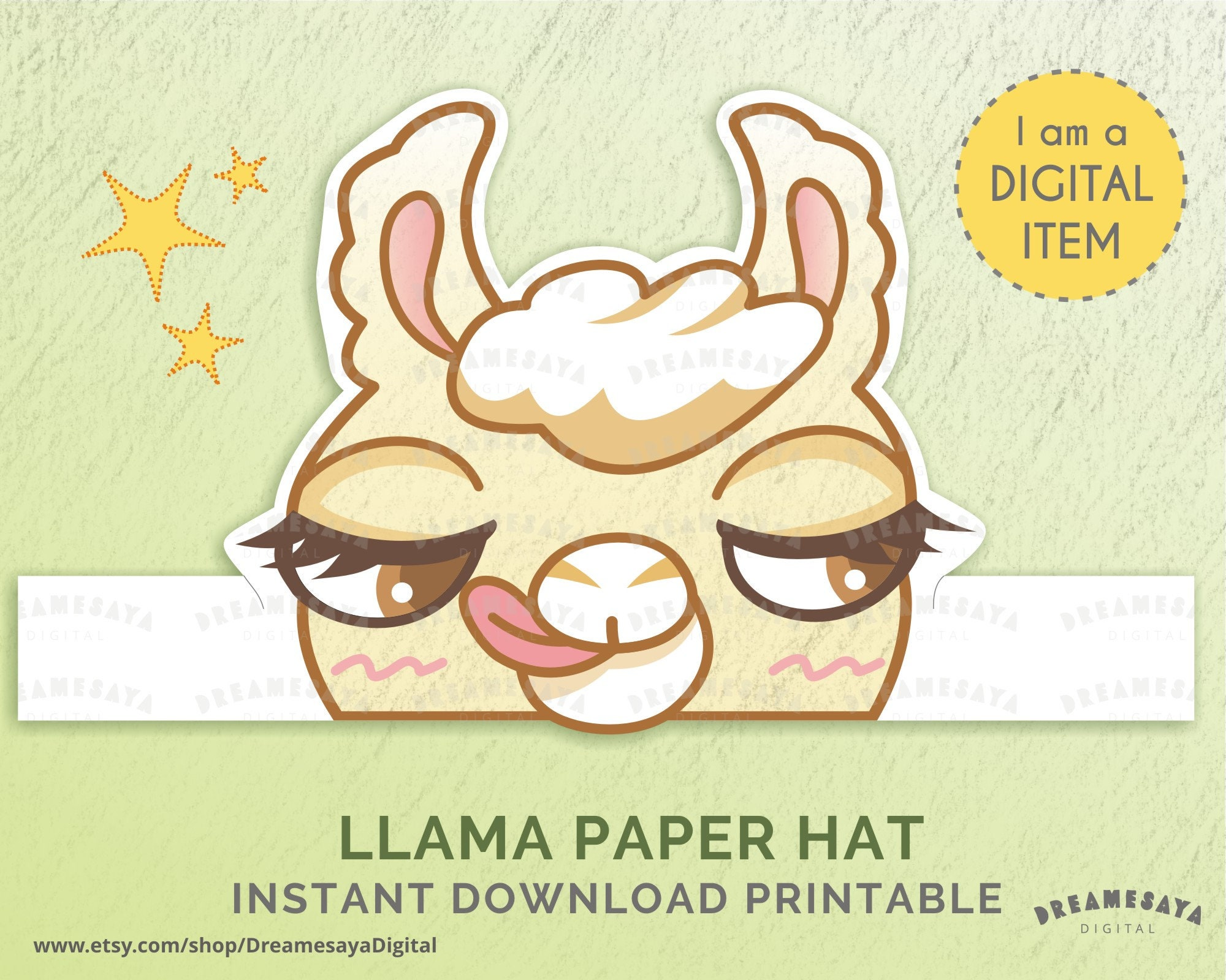 Llama Birthday Hat Funny Animal Paper Crown Silly
