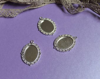 Silver plated charm holder oval cabochons