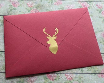 15 stickers stickers deer head gold / metallic gold
