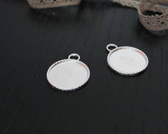 Charm holder cabochons round metal silver