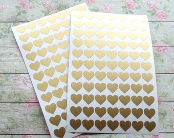 40 stickers stickers heart gold / metallic gold