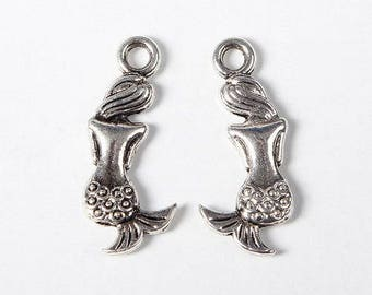 Mermaid pendants charms women, 20mm length, width 7mm, hole 2mm, silver, 10 pieces