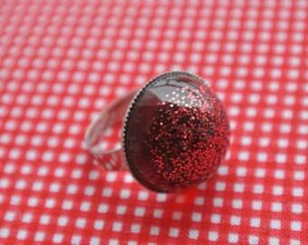 resin ring glitter Red