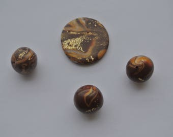 set of 4 polymer clay beads