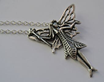 Silver fairy pendant with chain