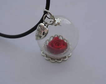 Pink and bubble glass pendant necklace