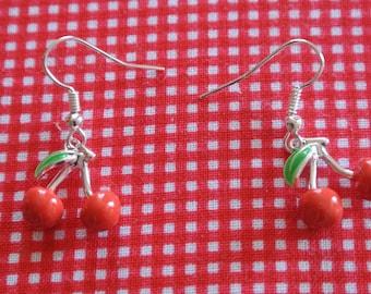 pair of cherry red earrings