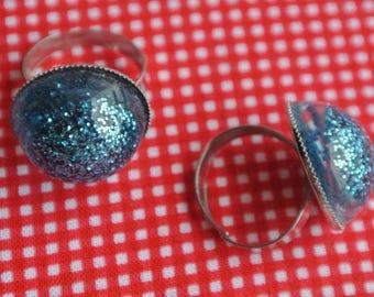 resin ring glitter blue